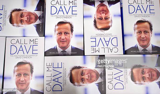 Copies of Call Me Dave sit on display at Foyles bookshop on October 5 2015 in London England Today Lord Ashcroft's biography of British Prime...