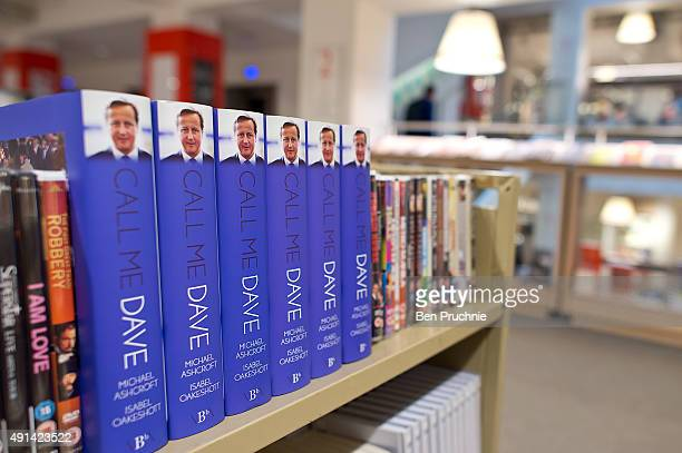 Copies of Call Me Dave sits on display at Foyles bookshop on October 5 2015 in London England Today Lord Ashcroft's biography of British Prime...