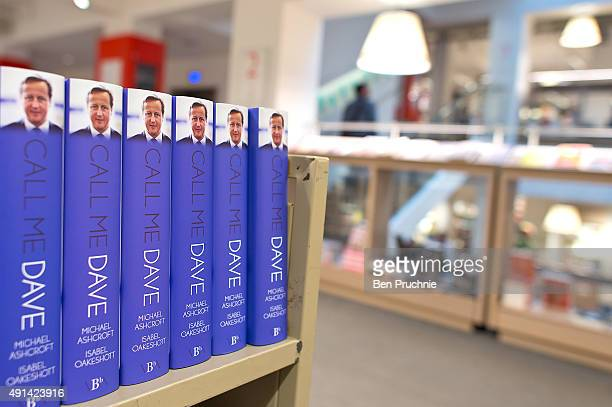 Copies of Call Me Dave waiting to go on display at Foyles bookshop on October 5 2015 in London England Today Lord Ashcroft's biography of British...