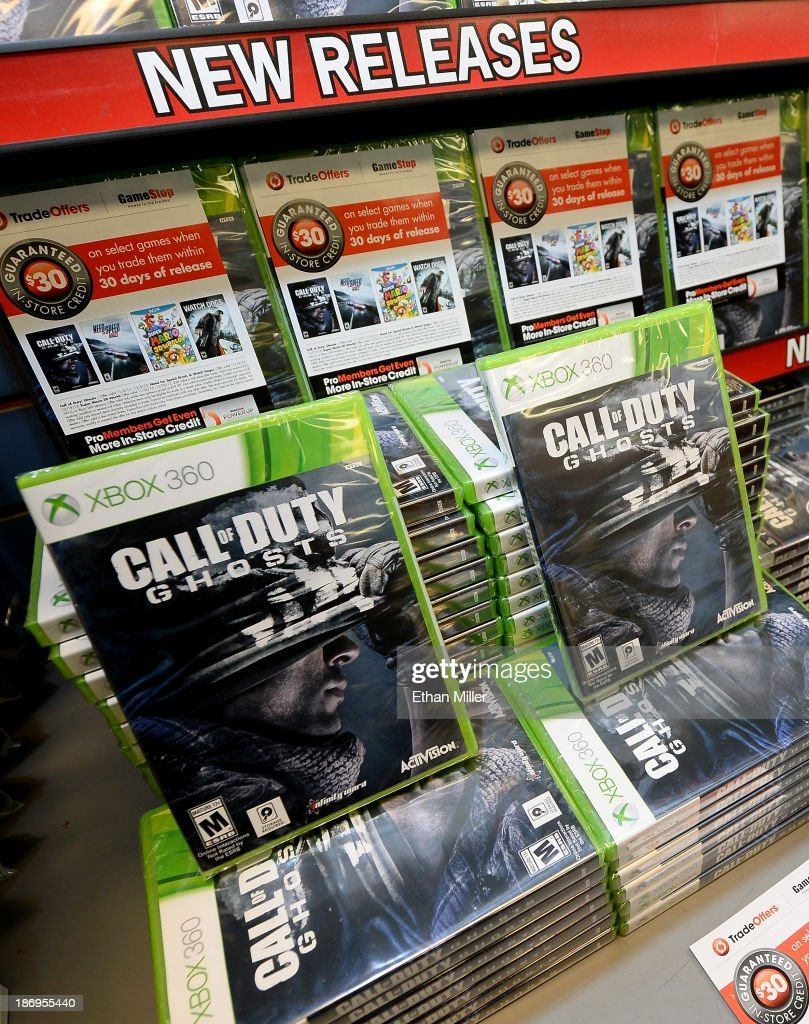 Copies of 'Call of Duty: Ghosts' for the Xbox 360 are displayed during a launch event for the highly anticipated video game at a GameStop Corp. store on November 4, 2013 in North Las Vegas, Nevada. Video game publisher Activision released the 10th installment in the 'Call of Duty' franchise at midnight on November 5.