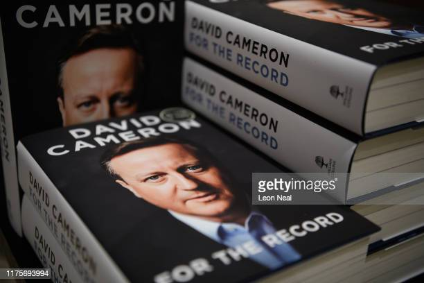 Copies of For The Record the autobiography of Britain's former Prime Minister David Cameron is seen on display in Waterstones book store on September...