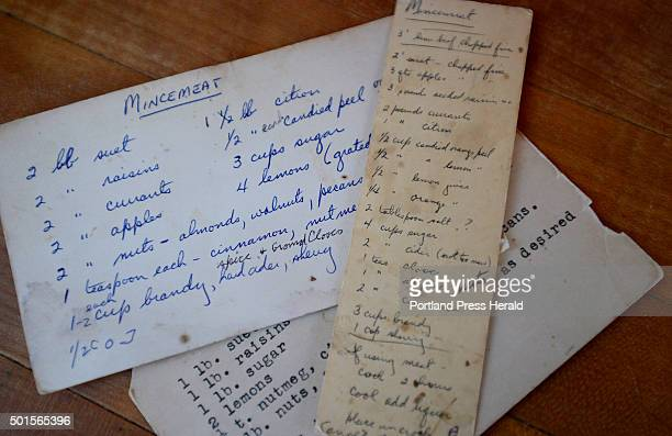 Copies of Kitty Boylin's mincemeat recipe at Kit Sherrills home in Southport Tuesday, November 243, 2015.