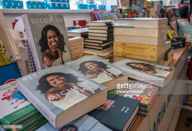 Copies of Portuguese and English editions of 'Becoming' a memoir by former US First Lady Michelle Obama on display at RG Livreiros bookstore on...