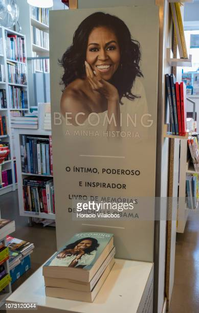 Copies of Portuguese edition of 'Becoming' a memoir by former US First Lady Michelle Obama on display at RG Livreiros bookstore on November 27 2018...