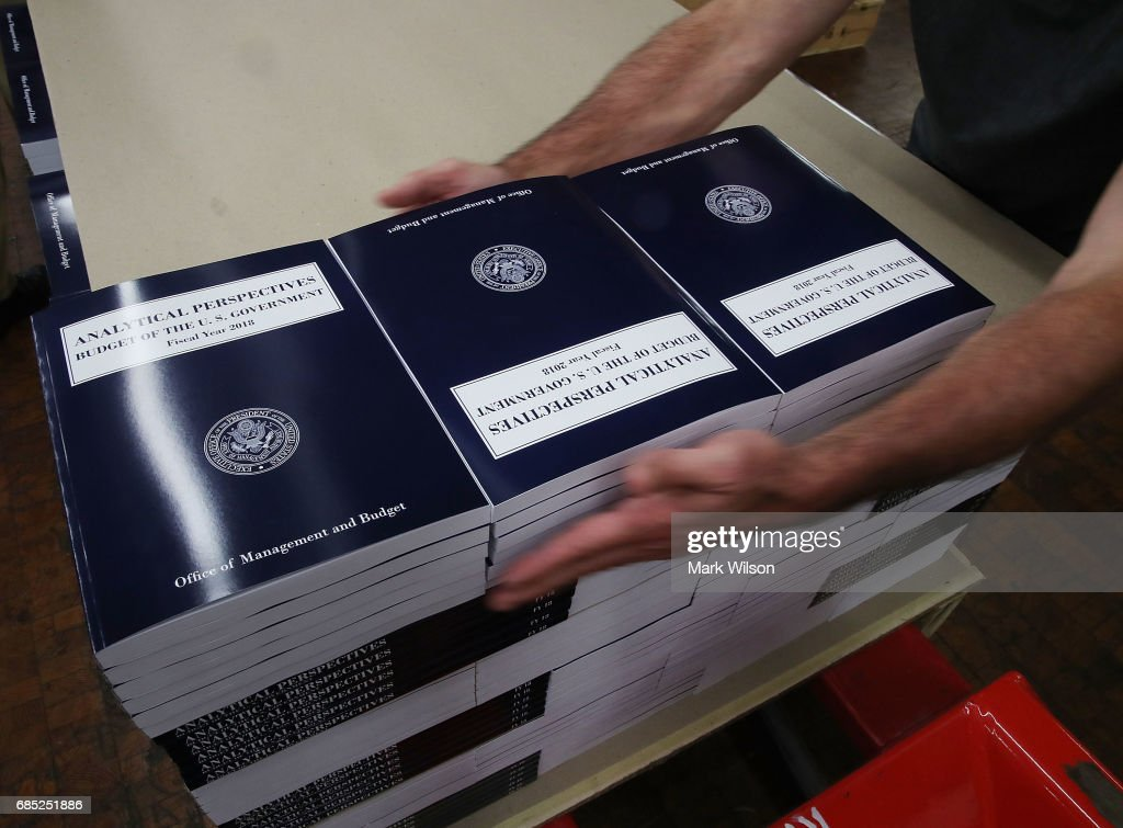 Copies of President Trump's FY'18 budget books are stacked, at the Government Publishing Office, on May 19, 2017 in Washington, DC.