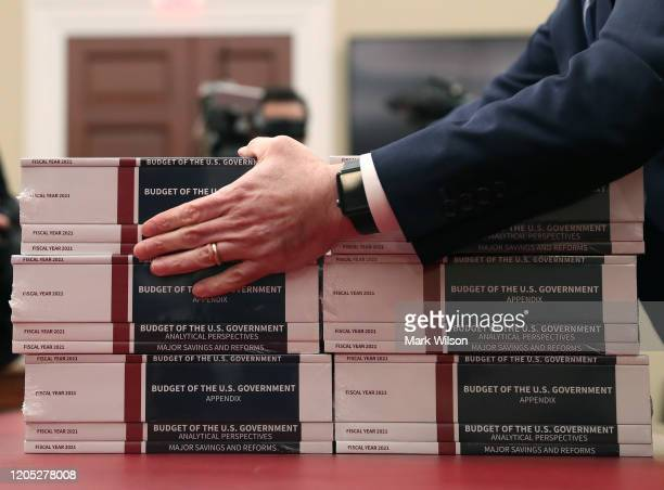 Copies of President Trump's FY2021 budget are delivered to the House Budget Committee on February 10 2020 in Washington DC