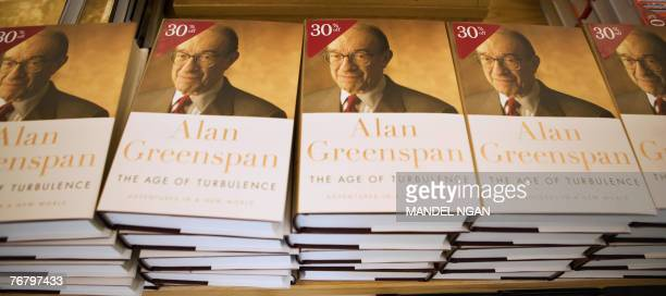 Copies of 'The Age of Turbulence Adventures in a New World' by former federal Reserve chairman Alan Greenspan are seen in a local book store 17...