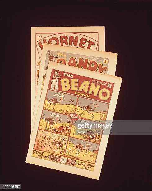 Copies of The Beano The Dandy and The Hornet comics which were some of Britain's most popular comics in the 20th century circa 1970