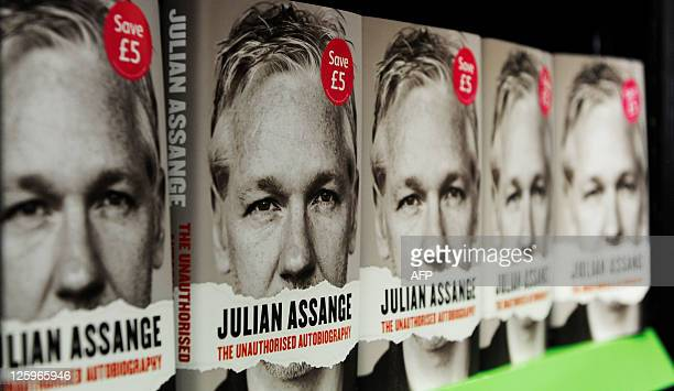 Copies of the book Julian Assange The Unauthorised Autobiography are pictured in a store in central London on September 22 2011 WikiLeaks founder...