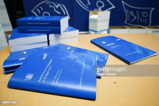 Copies of the budget on display on display during the printing of the budget at Printlink on May 23 2017 in Wellington New Zealand Joyce will deliver...
