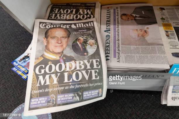 Copies of the Courier Mail is seen at a news stand on April 10, 2021 in Brisbane, Australia. Prince Philip, Duke of Edinburgh died peacefully at age...