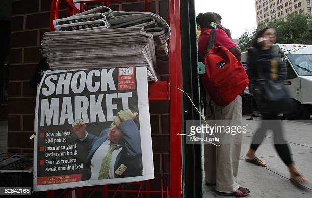 Copies of the Daily News are seen for sale at a newsstand September 16 2008 in New York City US stocks were mixed following yesterday's Dow Jones...
