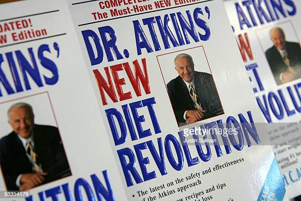 Copies of the Dr Atkins New Diet Revolution books are seen on display at the Castus Low Carb Superstore August 1 2005 in San Ramon California Hurt by...