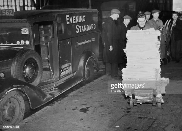 Copies of the Evening Standard being delivered in wartime London, 5th February 1941.