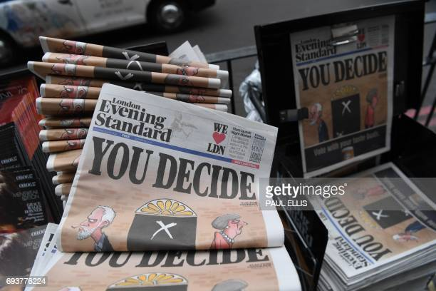 Copies of the Evening Standard newspaper with the headline 'You decide' are pictured in central London on June 8 as Britain holds a general election...