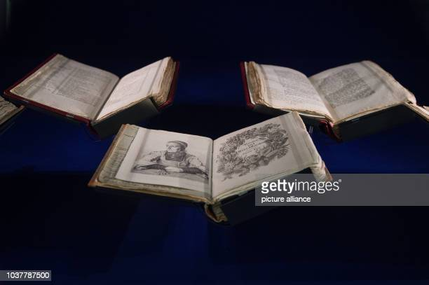 Copies of the first edition of the Children's and Household Tales collection of the Brothers Grimm with many handwritten notes are seen on the...