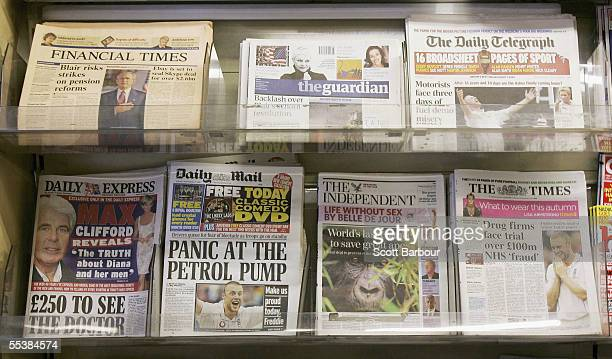 Copies of The Guardian newspaper sit on display along with other British newspapers at a newsagents on September 12 2005 in London England The...