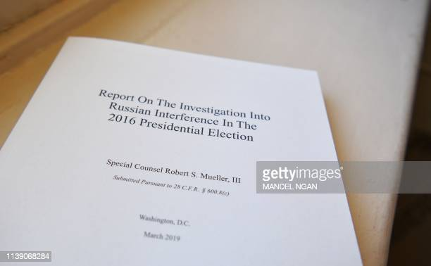 Copies of the Mueller Report printed by the US Government Publishing Office are seen at the US Capitol in Washington DC on April 24 2019