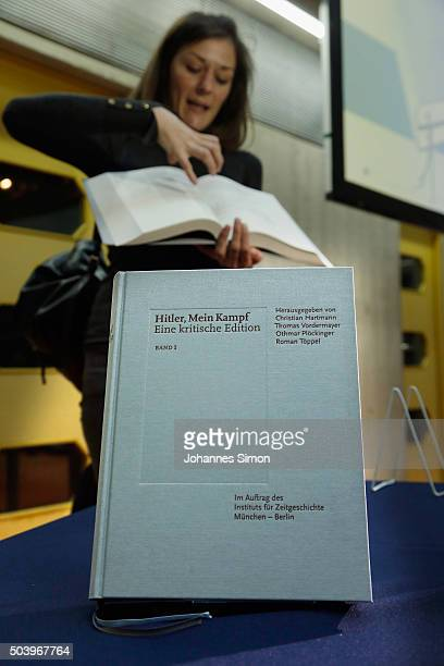 Copies of the new critical edition of Adolf Hitler's Mein Kampf are displayed prior to the book launch at the Institut fuer Zeitgeschichte on January...