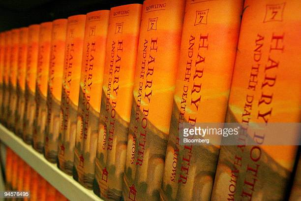 Copies of the new Harry Potter and the Deathly Hallows book the seventh title in JK Rowling's series seen shortly after midnight at a Borders Books...