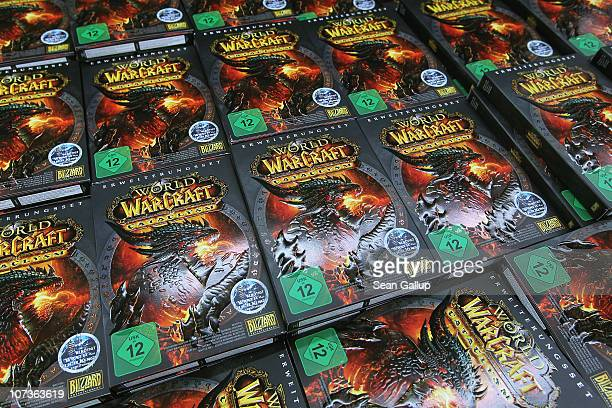 Copies of the new 'World of Warcraft Cataclysm' game lie on display shortly before midnight for the game's global sales premiere at MediaMarkt on...
