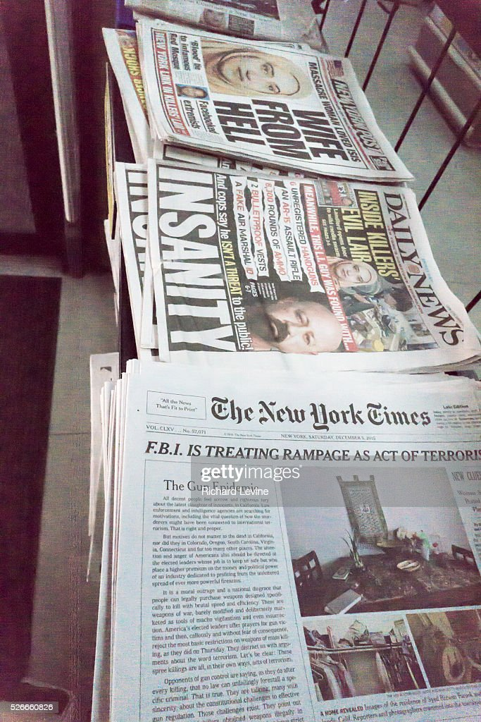 New York Times front-page editorial rebukes gun culture : News Photo