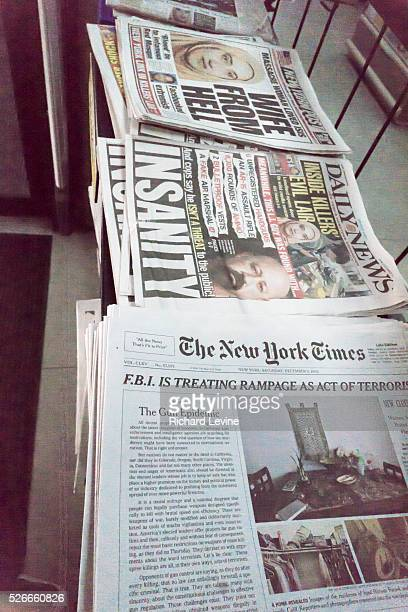 Copies of the New York Times on a newsstand contain the first frontpage editorial the Times has run since 1920 The editorial is a rebuke of America's...