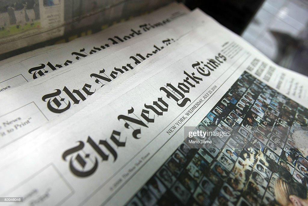 The New York Times Co. Post An 82 Percent Decline In 2nd Quarter Profi : News Photo