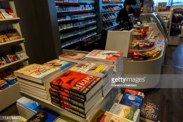 "Copies of the Portuguese edition of Bob Woodward's book about the Trump White House, ""Fear,"" are on display at passengers' lounge of Humberto Delgado..."