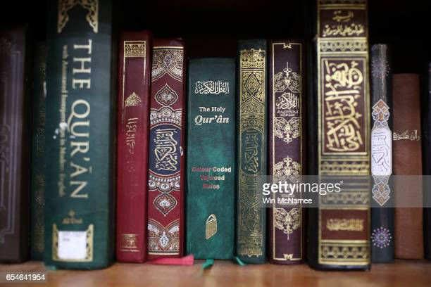 Copies of the Quran are shown on the shelf of the Dar AlHijrah Islamic Center mosque during a town hall meeting with Virginia Attorney General Mark...