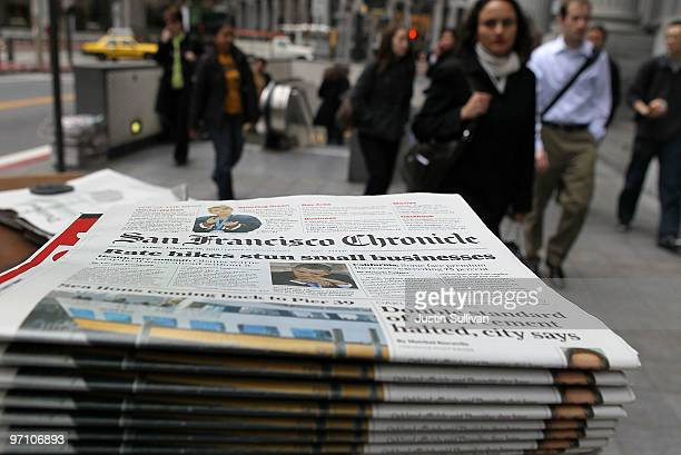 Copies of the San Francisco Chronicle are displayed at Nick's Newsstand February 26 2010 in San Francisco California As the newspaper industry...