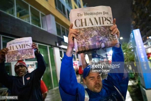Copies of the Washington Post declaring the Washington Nationals Champions outside of Nationals Park on October 30 2019 in Washington DC The...