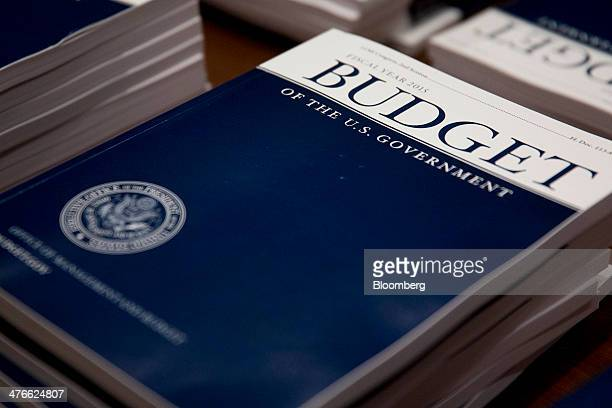 Copies of US President Barack Obama's Fiscal Year 2015 Budget sit on a table at the Senate Budget Committee room in Washington DC US on Tuesday March...