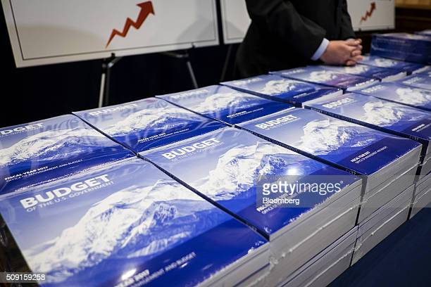 Copies of US President Barack Obama's Fiscal Year 2017 Budget sit on a table in the Senate Budget Committee room in Washington DC US on Tuesday Feb 9...