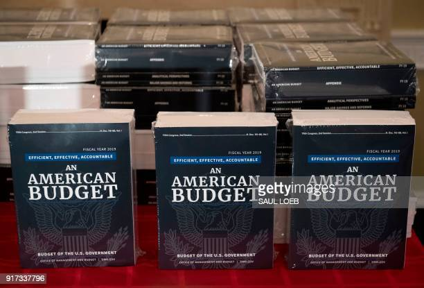 Copies of US President Donald Trump's Fiscal Year 2019 Government Budget sit on a table at the House Budget Committee on Capitol Hill in Washington...