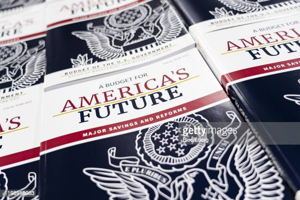 Copies of US President Donald Trump's fiscal year 2021 budget request sit stacked at the US Government Publishing Office production facility in...