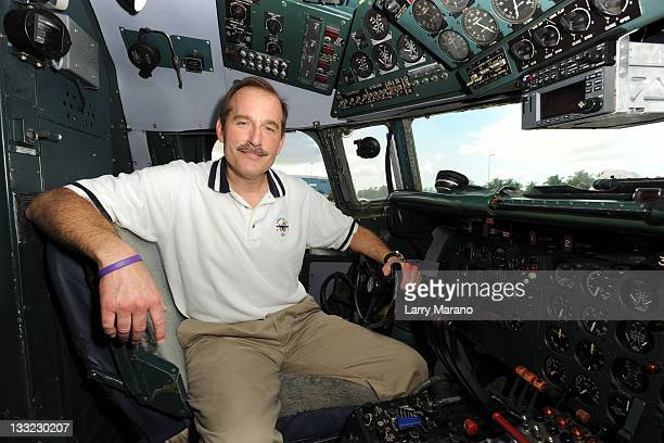 Copilot Jeff Skiles poses in the cockpit of the Historical 1958 DC7 to benefit hosted by Historical Flight Foundation on November 17 2011 in Miami...