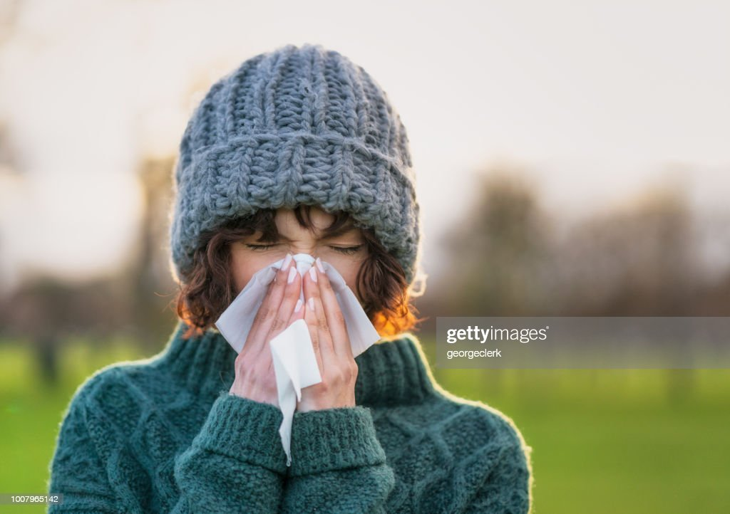 Coping with a winter cold : Stock Photo