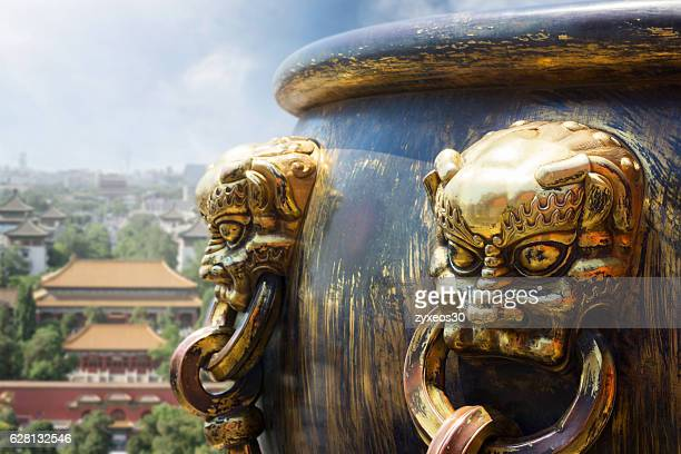 Copper bucket in the Forbidden City,beijing,China - East Asia,