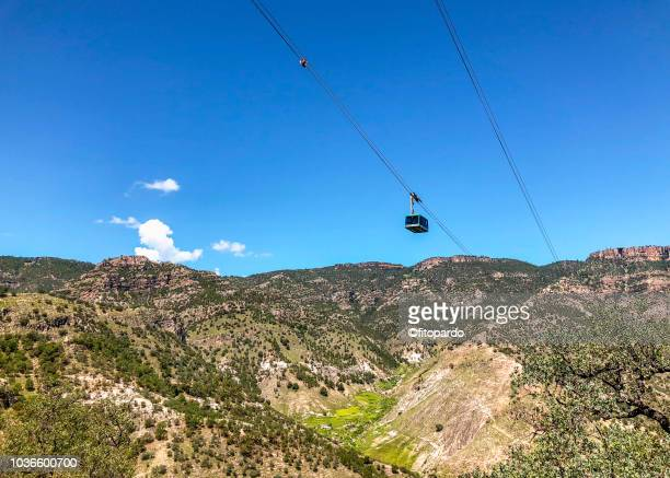 copper canyon panoramic and a cableway - chihuahua desert stock pictures, royalty-free photos & images