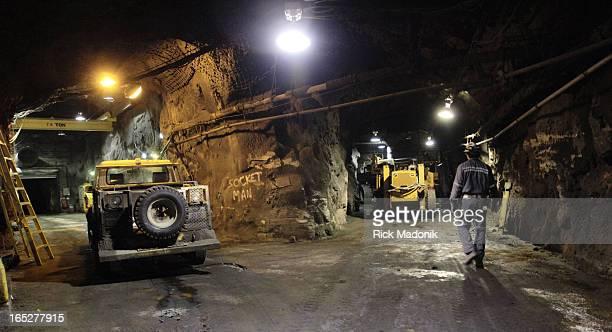 IMAGE 10/14/05 SUDBURY ONTARIO Copper Cliff South Mine operation in Sudbury A foreman walks through the maintenance area deep in the mine