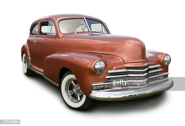 Copper colored hot rod coupe on white background