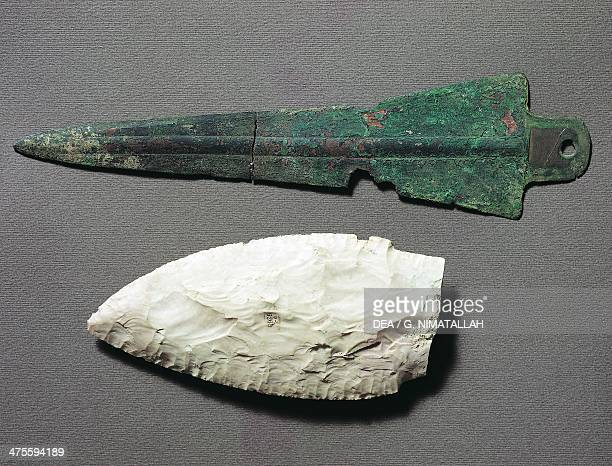 Copper dagger and flint dagger Remedello culture Copper Age 3rd millennium BC Reggio Nell'Emilia Musei Civici Di Reggio Emilia Museo Chierici