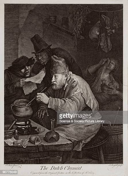 Copper engraving by J Boydell after a painting by J Stein �Engraved from the Original Picture in the collection of Mr Leviez� A chemist sits before a...