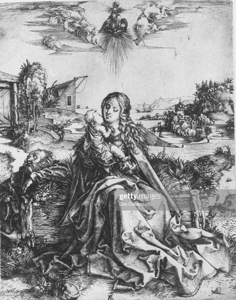 Copper engraving Holly Family with a Butterfly by Albrecht Durer