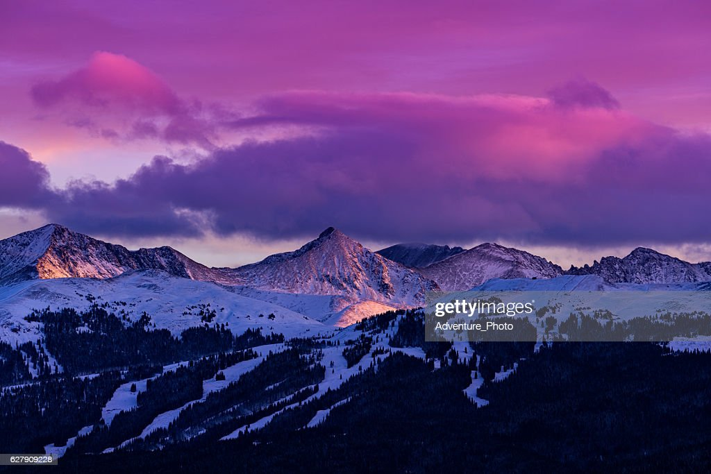 Copper Mountain and Tenmile Range Mountain View Winter Sunset : Stock Photo