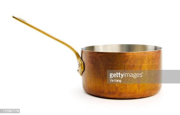 copper saucepan kitchen cooking pan isolated on white background - saucepan stock pictures, royalty-free photos & images