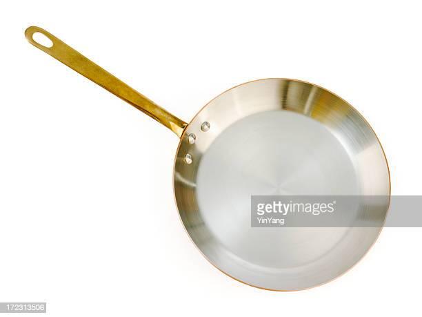 Copper Poële à frire — Cuisine cuisson poêle isolé sur blanc