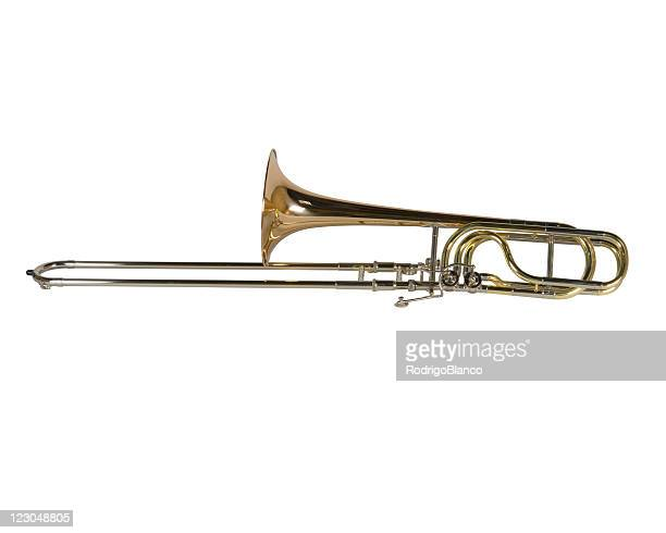 Copper trombone isolated on white background