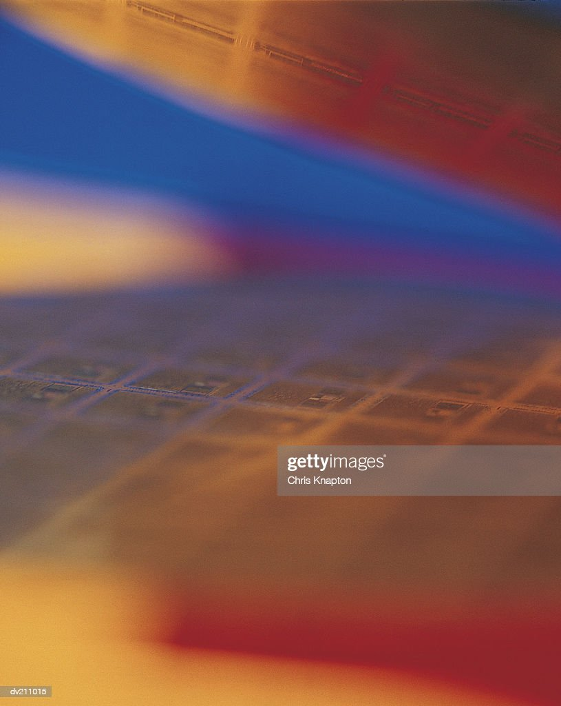 Copper wafer-chip abstraction, extreme close-up : Stock Photo